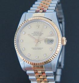 Rolex  Datejust Gold/Steel 16233 Champagne Diamond Dial