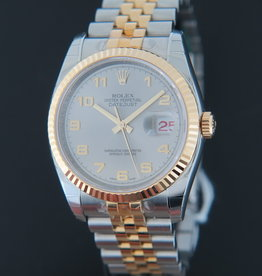 Rolex  Datejust Gold/Steel Grey Arab Dial 116233 NOS IN STICKERS