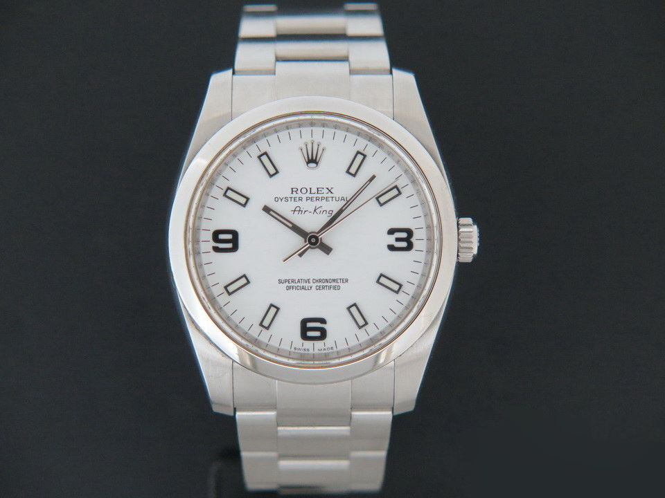 Rolex  Rolex Air-King 3 6 9 White Dial 114200