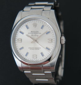 Rolex  Air-King 3 6 9 Silver Dial With Purple Index 114200