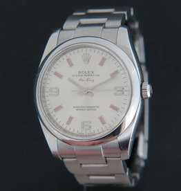 Rolex  Air-King 3 6 9 Silver Dial pink index 114200