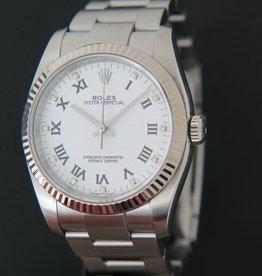 Rolex  Oyster Perpetual White Gold Bezel White Diamond Dial 116034