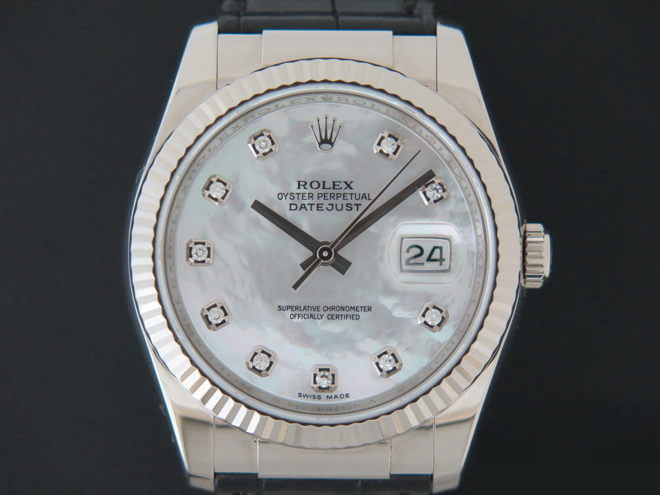Rolex  Rolex Datejust White Gold Diamond Mother Of Pearl Dial  116139