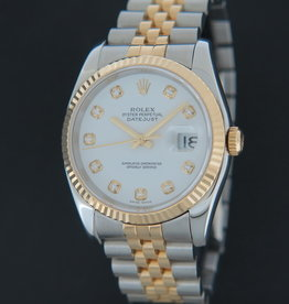 Rolex  Datejust Gold/Steel White Diamond Dial 116233