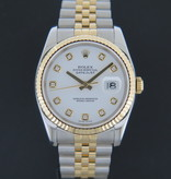 Rolex  Rolex Datejust Gold/Steel White Diamond Dial 116233
