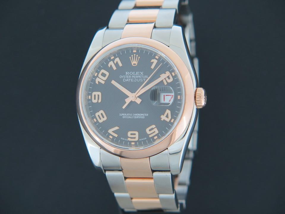 Rolex  Rolex Datejust Everose / Steel 116201 Black Concentric Dial