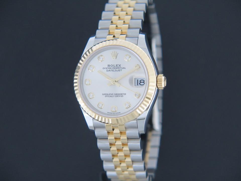 Rolex  Rolex Datejust Gold/Steel Silver Diamond Dial 278273 NEW