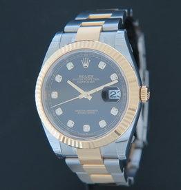 Rolex  Datejust 41 Gold/Steel Black Diamond Dial 126333 NEW
