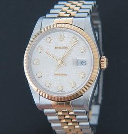 Rolex  Datejust Gold/Steel Silver Jubilee Diamond Dial 16233