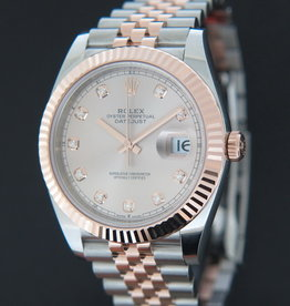 Rolex  Datejust 41 Everose/Steel Diamond Dial NEW 126331