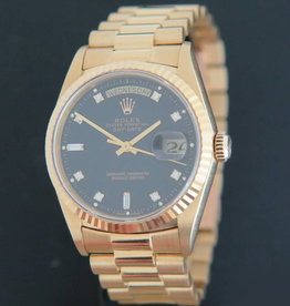 Rolex  Day-Date Yellow Gold Black Diamond Dial 18238