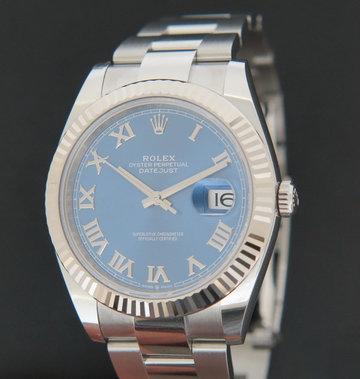 Rolex  Datejust 41 Blue Roman Dial 126334 NEW