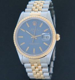 Rolex  Date Gold/Steel Blue Dial 15223
