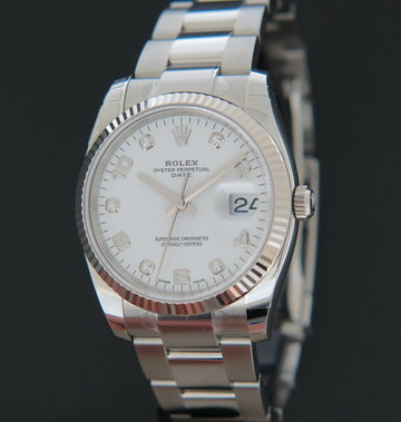 Rolex  Date White Diamond Dial NEW 115234