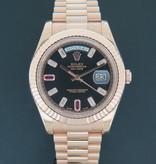 Rolex  Rolex Day-Date II Everose Diamond Ruby Dial NEW 218235