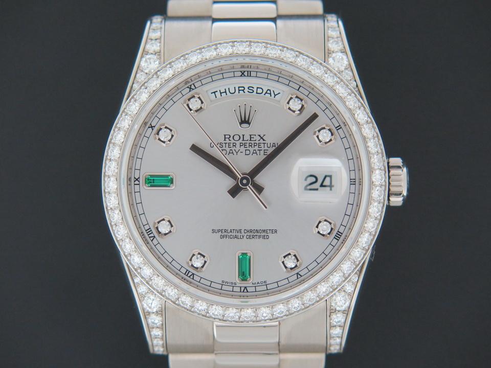 Rolex  Rolex Day-Date White Gold Silver Diamond Emerald Dial 118389