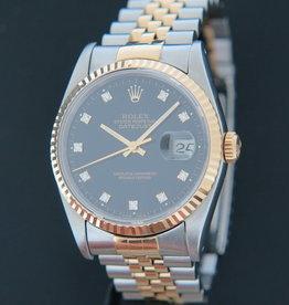 Rolex  Datejust Gold/Steel 16233 Black Diamond Dial