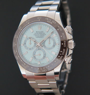 Rolex  Daytona Platinum Ice Blue Baguette Dial 116506