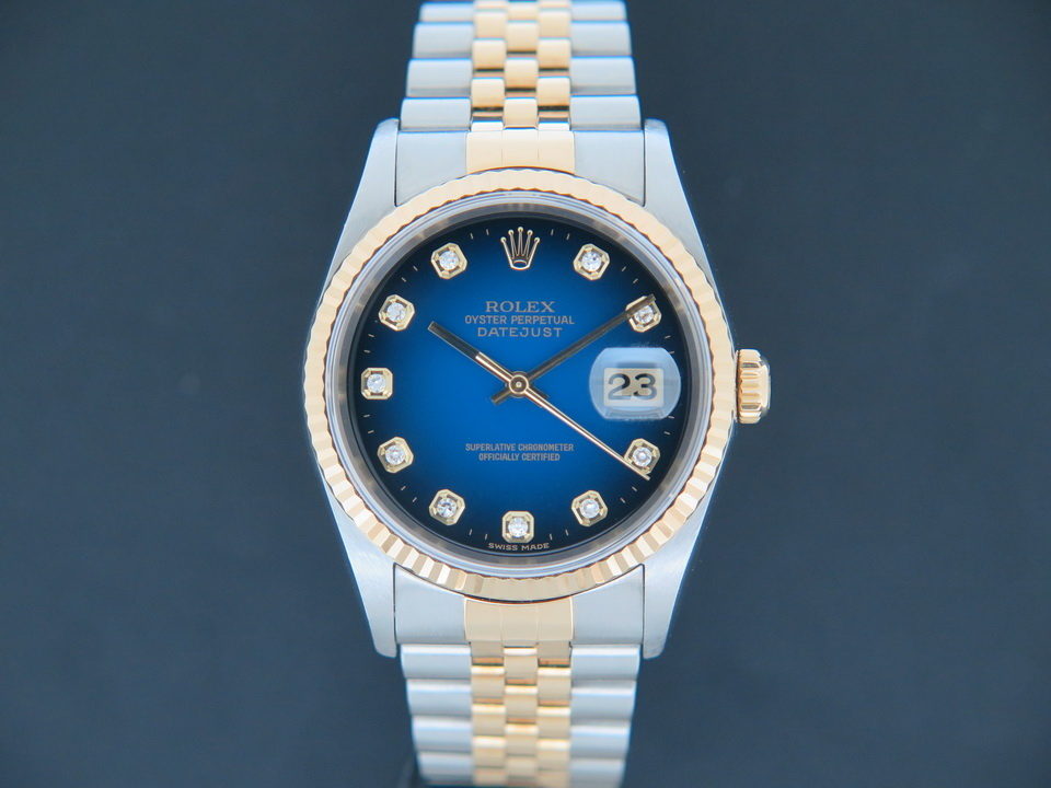 Rolex  Rolex Datejust Gold/Steel 16233 Blue Vignette  Diamond Dial