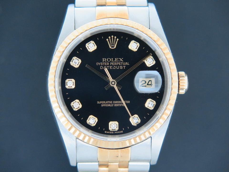 Rolex  Rolex Datejust Gold/Steel Black Diamond Dial 16233