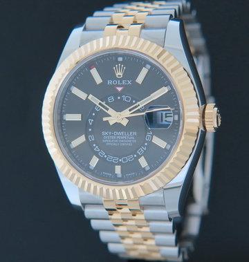 Rolex  Sky-Dweller Gold/Steel Black 326933 NEW