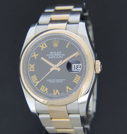 Rolex  Datejust Everose/Steel Black Roman Dial 116201
