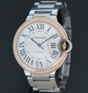 Cartier Ballon Bleu Gold/Steel Diamond Bezel 36MM WE902081 / 3754