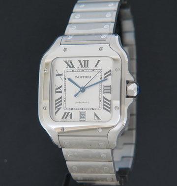 Cartier Santos Large Date Steel Roman Dial NEW WSSA0018 / 4072