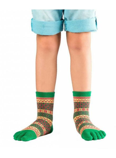 Knitido Ontario Kids, groen/geel/rood, halfhoog, katoen