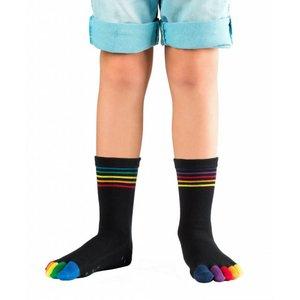 Knitido Rainbow Kids ABS, halfhoog, antislip, katoen