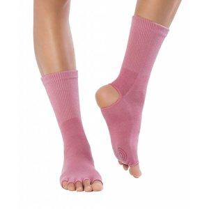 Knitido Yoga Flow, Coral, katoen, halfhoog, antislip, met open tenen en hiel
