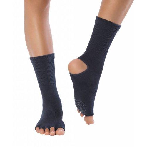 Knitido Yoga Flow, Charcoal, katoen, halfhoog, antislip, met open tenen en hiel