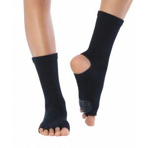 Knitido Yoga Flow, Obsidian, katoen, halfhoog, antislip, met open tenen en hiel