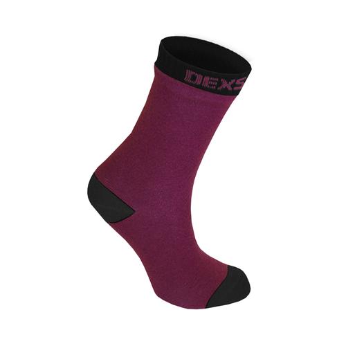 DexShell Waterproof Crew Socks Burdundy/Black