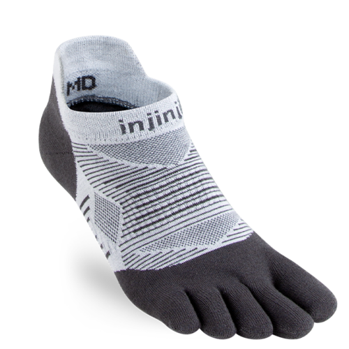 Injinji Womens Run Lightweight No-Show Coolmax Gray