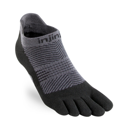 Injinji Womens Run Lightweight No-Show Coolmax Black