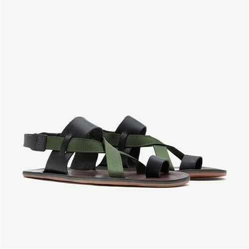 Vivobarefoot Kuru Sandal Ladies Leather Black/Olive