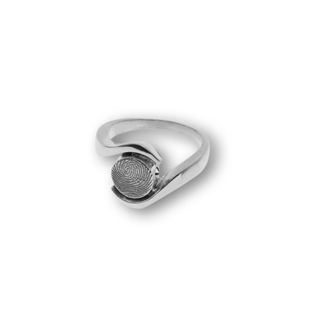 Ring with stroke and round fingerprint 8 mm.