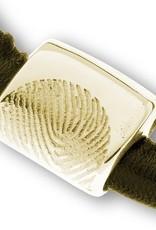 Armband met bedel, leder met neopreen incl. asreservoir, met vingerafdruk en magneetslot