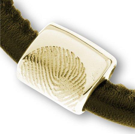 Bracelet cuir/néoprène incl. reservoir de cendre, avec empreinte digital et fermoir magnétique