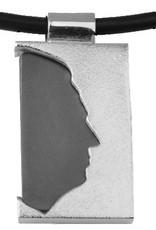 Rechthoekige hanger, open profiel met ebbenhout