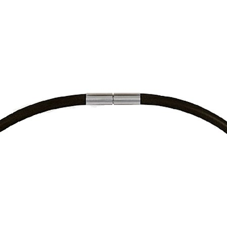 Black silicon chain with steel core and lock