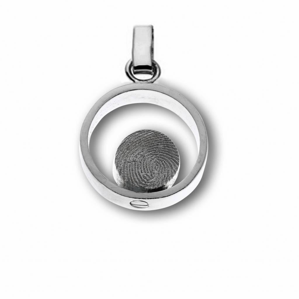 Hanger ring met Ø 8 mm. ronde vingerafdruk, incl. asreservoir