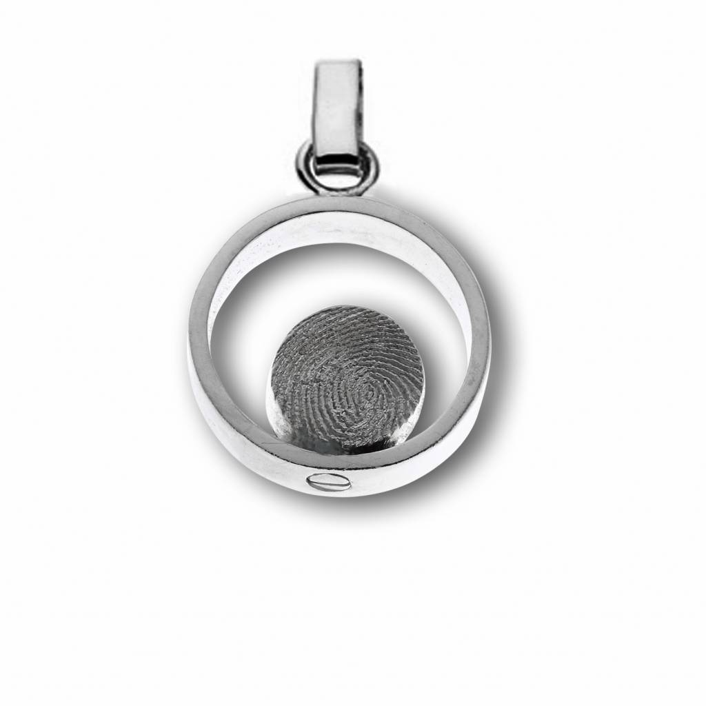 Pendant Ring with Ø 8 mm. fingerprint, incl. container for ashes