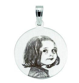 Pendant with photo-engraving, round