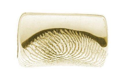 Armband met bedel, leder met neopreen met vingerafdruk en magneetslot