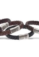 Bracelet cuir avec serrure en acier
