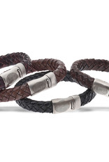 Bracelet leather with steel lock