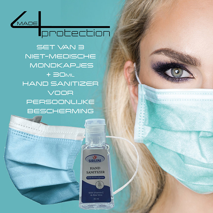 offer made4protection mondkapjes + Hand Sanitizer