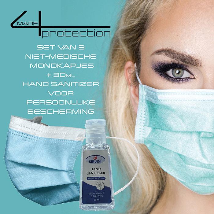 set van 3 niet-medische mondkapjes +  30ml Hand Sanitizer
